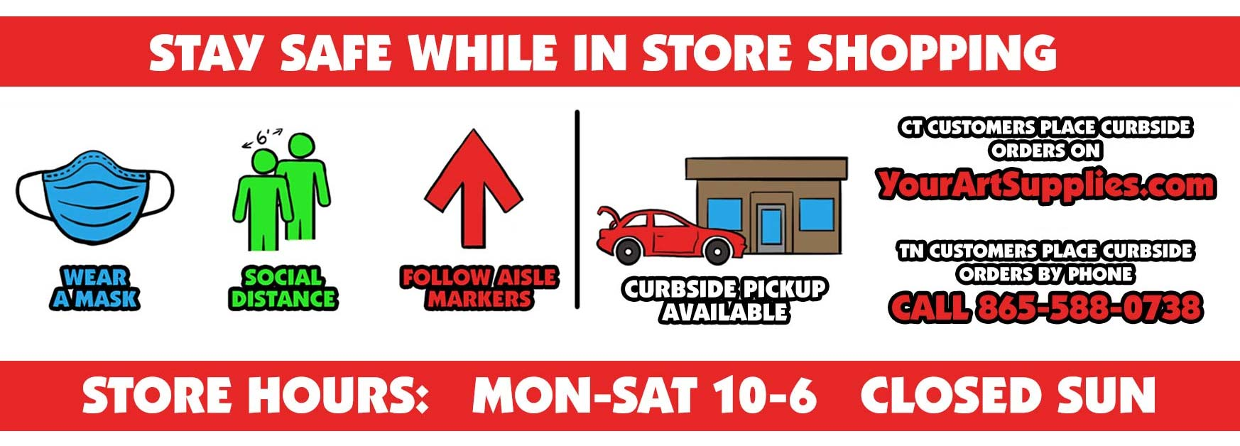 Order online for curbside pickup on YourArtSupplies.com