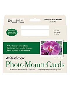 """Strathmore Photomount Card/Envelopes Classic Emboss 10 Pack 5x6.875"""" - White"""