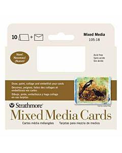 "Strathmore Mixed Media Card/Envelope 10 Pack 3.625x5.125"" - White"