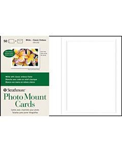"""Strathmore Photomount Card/Envelopes Classic Emboss 50 Pack 5x6.875"""" - White"""