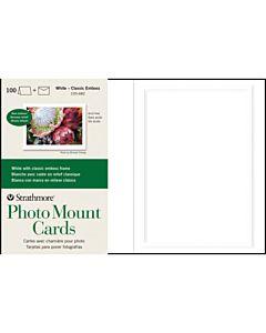 """Strathmore Photomount Card/Envelopes Classic Emboss 100 Pack 5x6.875"""" - White"""