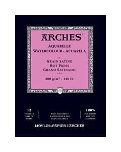 "Arches Natural White Watercolor Pad 9x12"" 140lb Hot Press"
