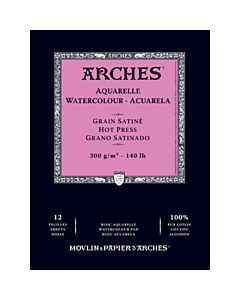 "Arches Natural White Watercolor Pad 10x14"" 140lb Hot Press"