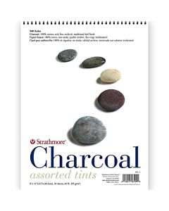 """Strathmore 500 Charcoal Paper 25 Sheet Pad - 9x12"""" - Assorted"""