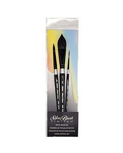 Silver Brush Black Velvet 3-Piece Short Handle Set