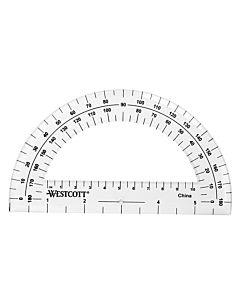 Westcott 6-Inch Plastic 180 Degree Protractor, Clear