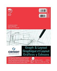 Canson Graph and Layout Pads  4/4 Grid 11x17 - 40 Sheets