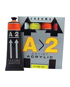 Chroma A>2 Student Acrylic Set of 8 120ml Tubes - Assorted Colors