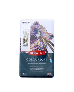 Derwent Coloursoft 12 Pencil Set With Free Marker