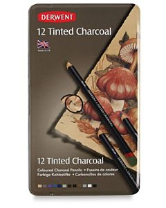 Derwent Tinted Charcoal Pencils Tin Set of 12