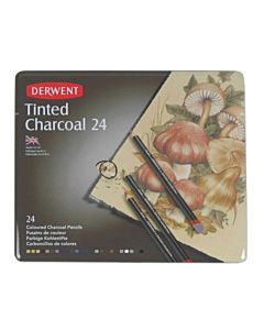 Derwent Tinted Charcoal Pencils Tin Set of 24