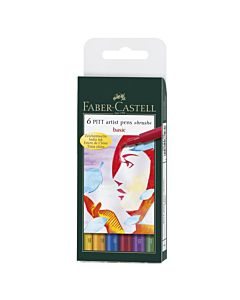 Faber-Castell PITT Artist Pen Basic Wallet of 6 - Basic Colors