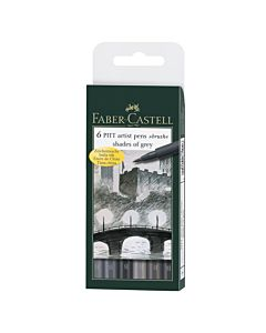 Faber-Castell PITT Artist Pen Gray Wallet of 6 - Grays