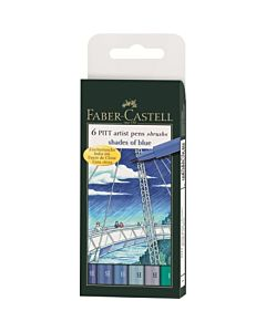 Faber-Castell PITT Artist Pen Wallet Set of 6 - Shades Of Blue