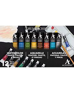 Grumbacher Academy Watercolors - 10 Color 12 Piece Set