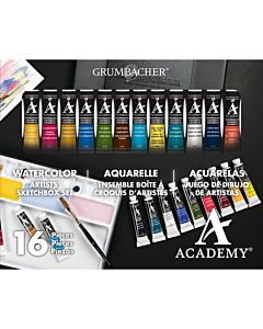 Grumbacher Academy Watercolors - 12 Tube 16 Piece Set