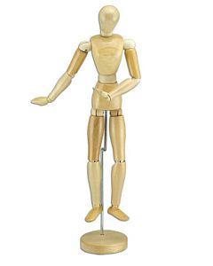 "Wood Figure Manikin Wax Finish - Male 8"""
