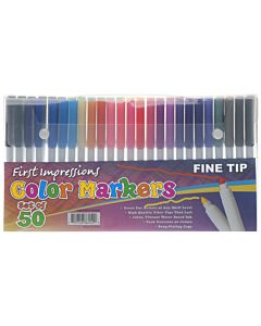 First Impressions Color Art Markers for Kids Set of 50 Fine Tip - Assorted Colors