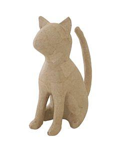 """Paper Mache Cat Seated 6.75x6.5"""""""