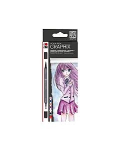 Marabu Aqua Make Manga Pen Set of 6