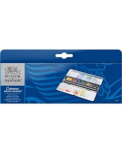 Winsor & Newton Cotman Water Colour Blue Box Set of 12 Half Pans