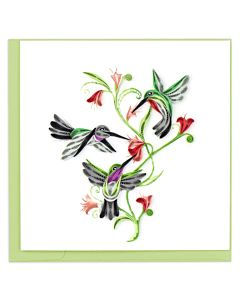 Quilling Card Hummingbird Trio