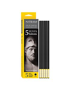 Nitram Petits Batons Round Extra Soft 6mm Charcoal Batons 5-Pack