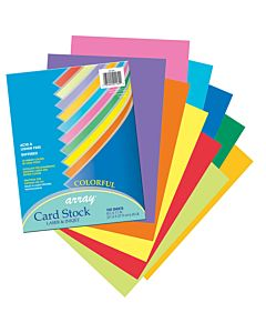 "Pacon Card Stock 8.5x11"" 100 Sheets Assorted Colors"