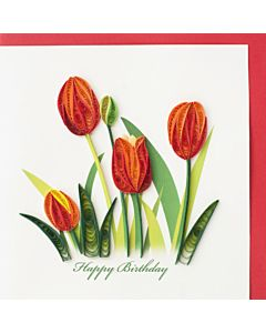 Quilling Card - Red Tulip