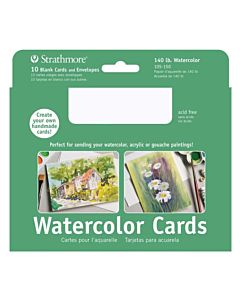"Strathmore Watercolor Card/Envelope 10 Pack 5x6.875"" - White"