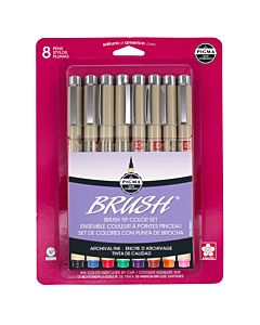 Sakura Pigma Brush Tip Pen Set of 8 Brush Tips - Assorted Colors