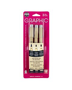 Sakura Pigma Graphic Pen Set of 3 Assorted Tips - Black