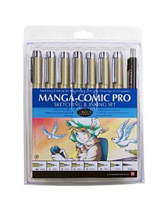 Sakura Pigma Manga-Comic Pro Set of 8 Assorted Tips - Black