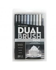 Tombow Dual Brush Pen 10 Color Grey Scale Set