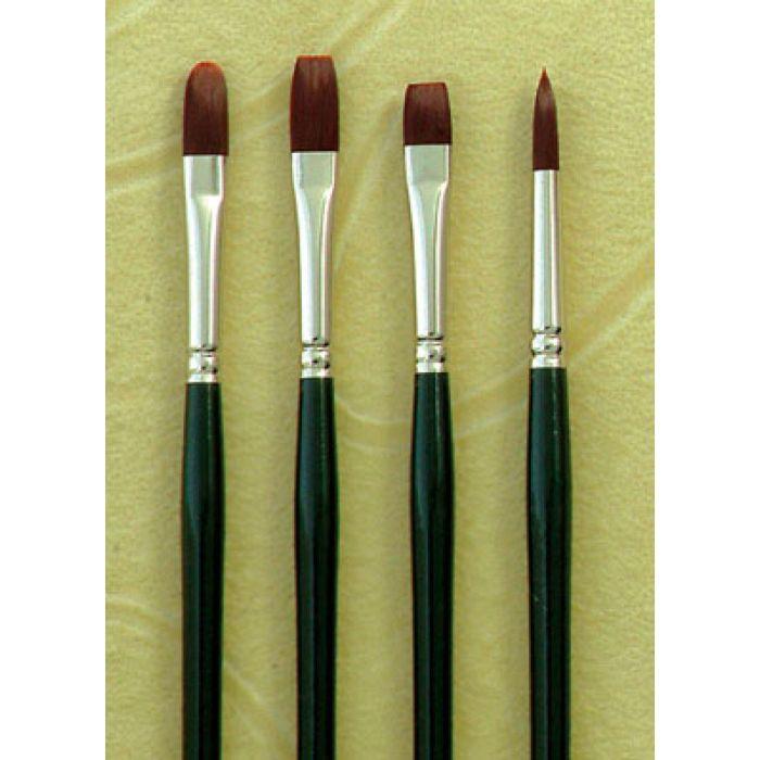 Flat Size 8 Silver Brush 2501-8 Ruby Satin Long Handle Synthetic Brush