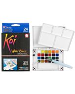 Koi Watercolor 24-Color Field Sketch Set with Water Brush