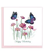 Quilling Card - Birthday Flowers & Butterfly